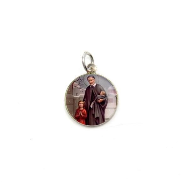 MD104242P5 - Medalha de Alumínio Redonda c/ 5un. São Vicente de Paula - 1,5x1,5cm