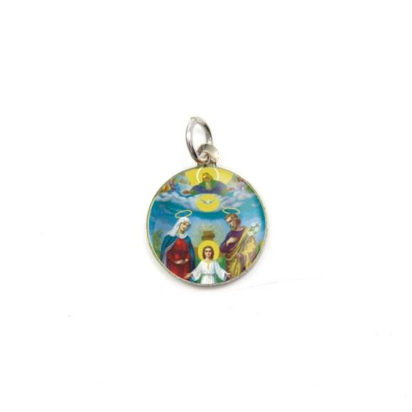 MD104404P5 - Medalha de Alumínio Redonda c/ 5un. Sagrada Família - 1,5x1,5cm
