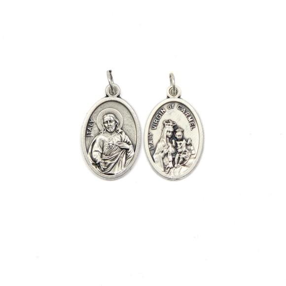 MD1180302P2 - Medalha N. Sra. Do Carmo e Sagrado Coração de Jesus Italiana Oval Dupla Prateada c/ 2un. - 2,5x1,7cm