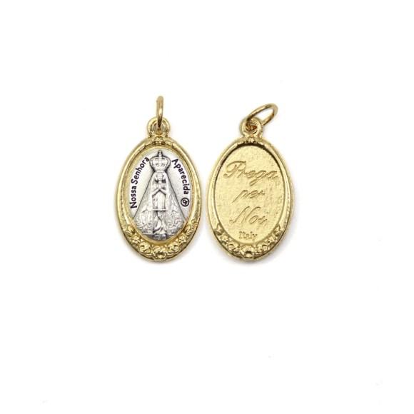 MD1180021 - Medalha N. Sra. Aparecida Italiana Oval Dourada - 2,5x1,7cm