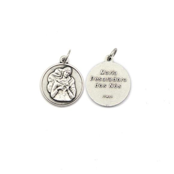 MD1180050P2 - Medalha N. Sra. Desatadora de Nós Italiana Redonda Prateada c/ 2un. - 2,3x2cm