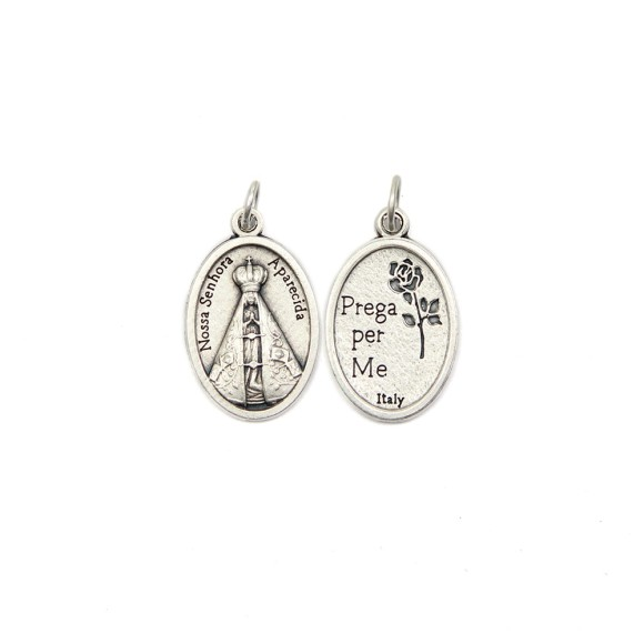 MD1180002P2 - Medalha N. Sra. Aparecida Italiana Oval Prateada c/ 2un. - 2,5x1,7cm