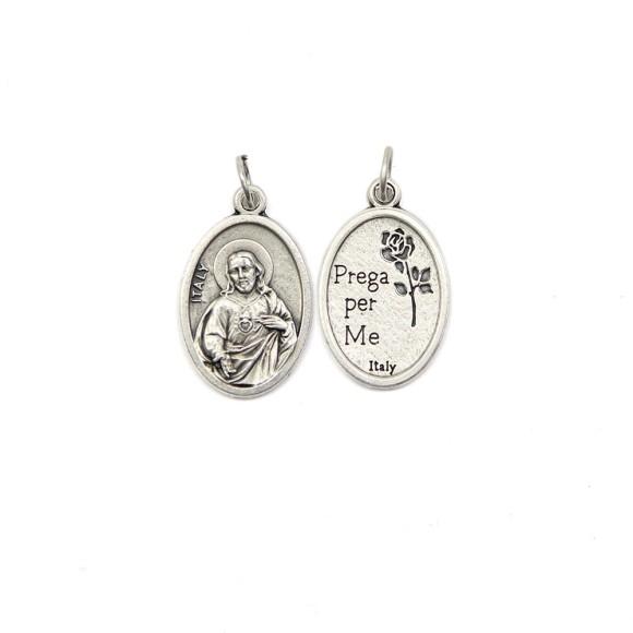 MD1180202P2 - Medalha Sagrado Coração de Jesus Italiana Oval Prateada c/ 2un. - 2,5x1,7cm