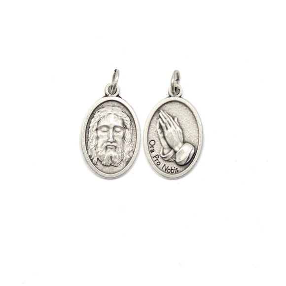 MD1180201P2 - Medalha Face de Jesus e Jesus Orando Italiana Oval Dupla Prateada c/ 2un. - 2,5x1,7cm