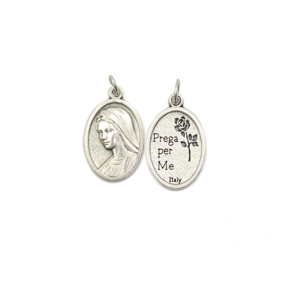 MD1180009P2 - Medalha Rainha da Paz Italiana Oval Prateada c/ 2un. - 2,5x1,7cm