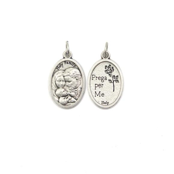MD1180300P2 - Medalha Sagrada Família Italiana Oval Prateada c/ 2un. - 2,5x1,7cm