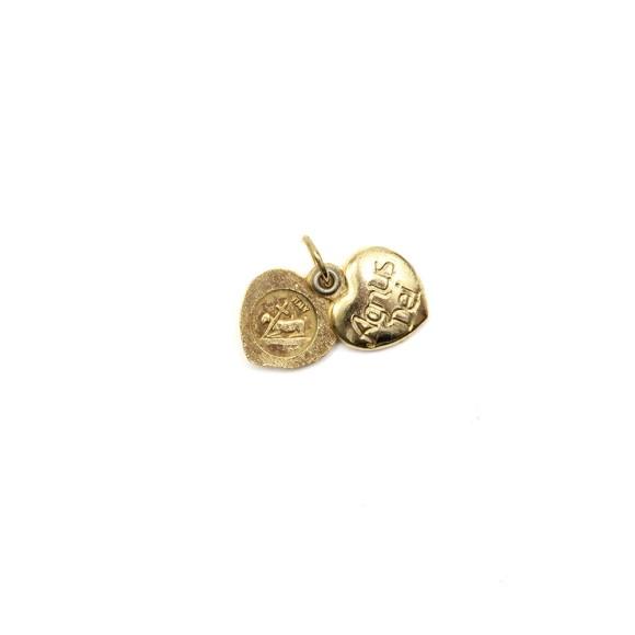 PG1170002 - Medalha Agnus Dei Italiana Coração Dupla Dourada - 2x1,3cm