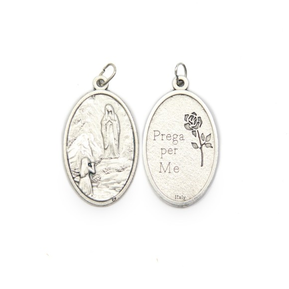 MD1190003 - Medalha N. Sra. De Lourdes Italiana Oval Prateada - 4,5x2,6cm
