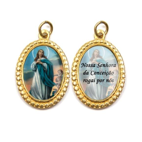 MD106001P3 - Medalha de Alumínio Dupla Oval c/ 3un. N. Sra. Da Conceição - 4x2cm