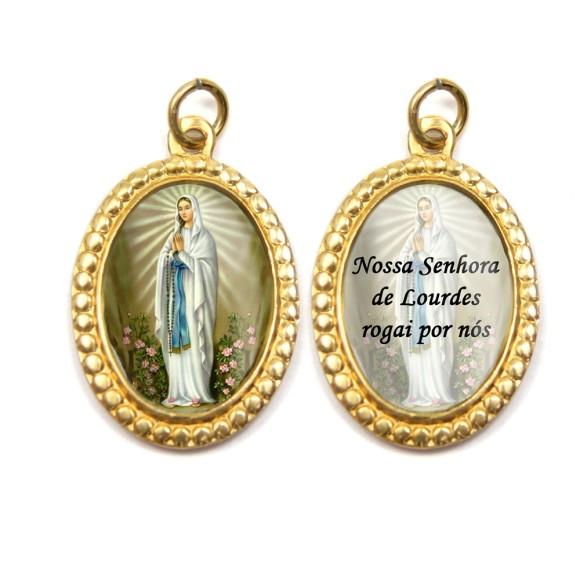 MD106004P3 - Medalha de Alumínio Dupla Oval c/ 3un. N. Sra. De Lourdes - 4x2cm