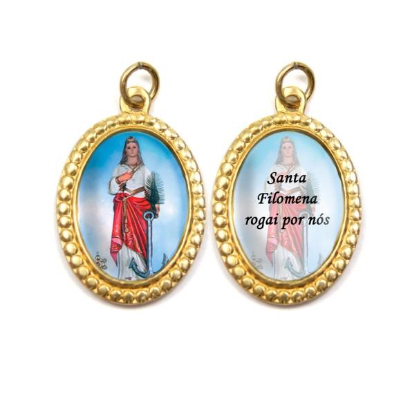 MD106010P3 - Medalha de Alumínio Dupla Oval c/ 3un. Santa Filomena - 4x2cm