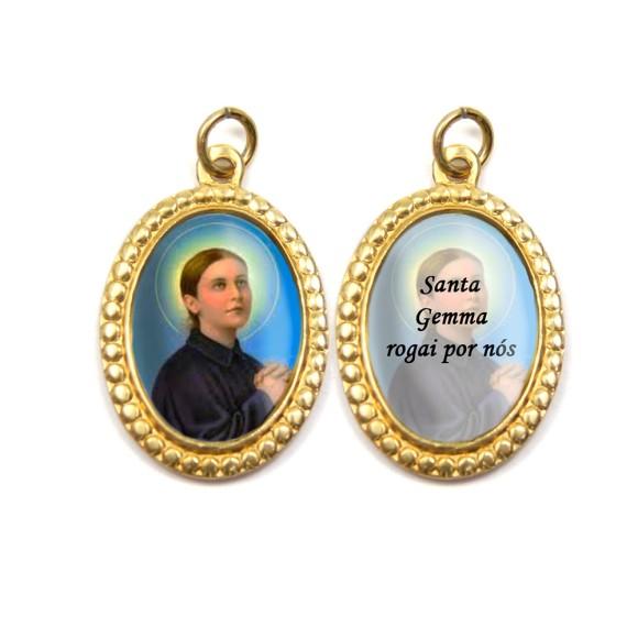 MD106011P3 - Medalha de Alumínio Dupla Oval c/ 3un. Santa Gemma Galgani - 4x2cm
