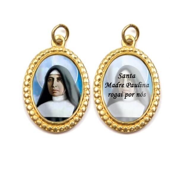 MD106012P3 - Medalha de Alumínio Dupla Oval c/ 3un. Santa Paulina - 3x2cm