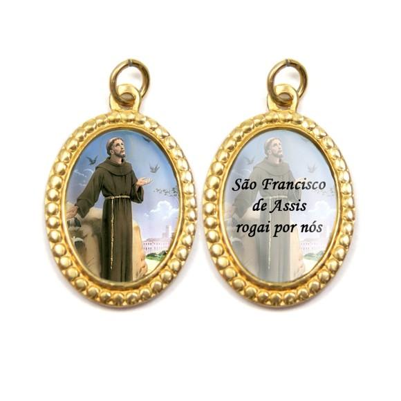 MD106205P3 - Medalha de Alumínio Dupla Oval c/ 3un. São Francisco de Assis - 3x2cm