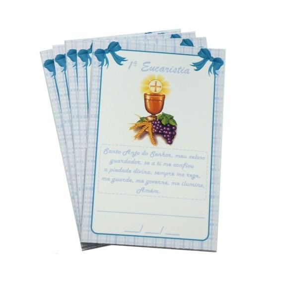 CT112001P12 - Cartão c/ 12un. Primeira Eucaristia Azul - 8x5cm