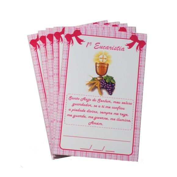 CT112002P12 - Cartão c/ 12un. Primeira Eucaristia Rosa - 8x5cm