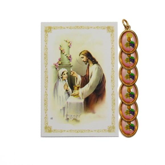 CT112051P6 - Cartão c/ 6un. Lembrança Primeira Eucaristia Menina e Medalha Dupla Eucaristia - 9,5x6,5cm