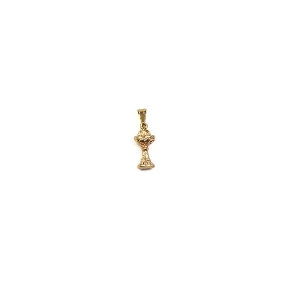 PG112021P3 - Pingente Primeira Eucaristia Dourada c/ 3un. - 3x1cm