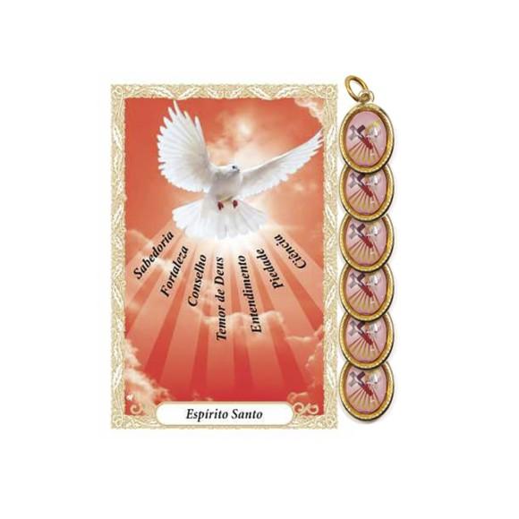 CT34020P6 - Cartão Lembrança e Medalha Dupla Crisma Vermelho c/ 6un. - 9,5x6,5cm