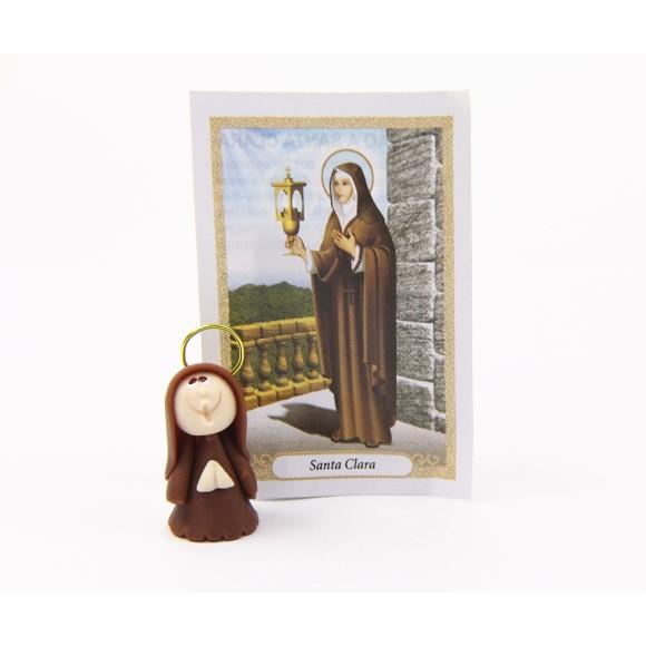 ST16007 - Santa Clara de Biscuit c/ Oração - 6x4cm
