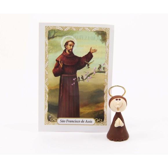 ST16021 - São Francisco de Assis de Biscuit c/ Oração - 6x4cm