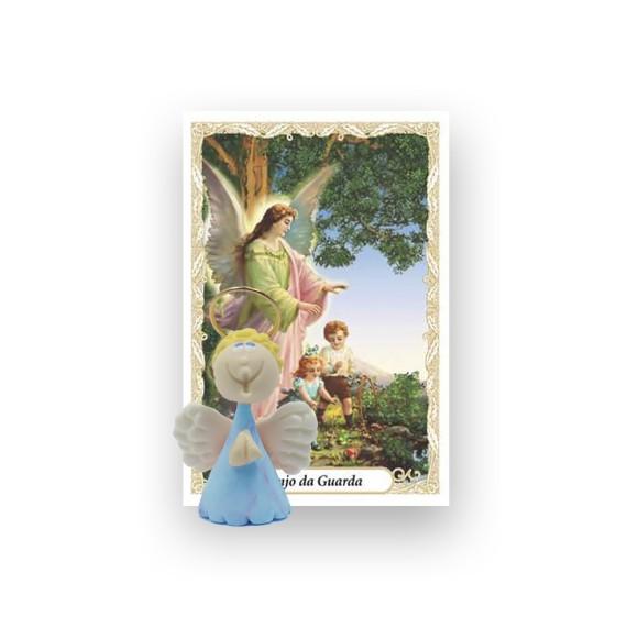 ST16040 - Anjo Azul de Biscuit c/ Oração - 6x4cm