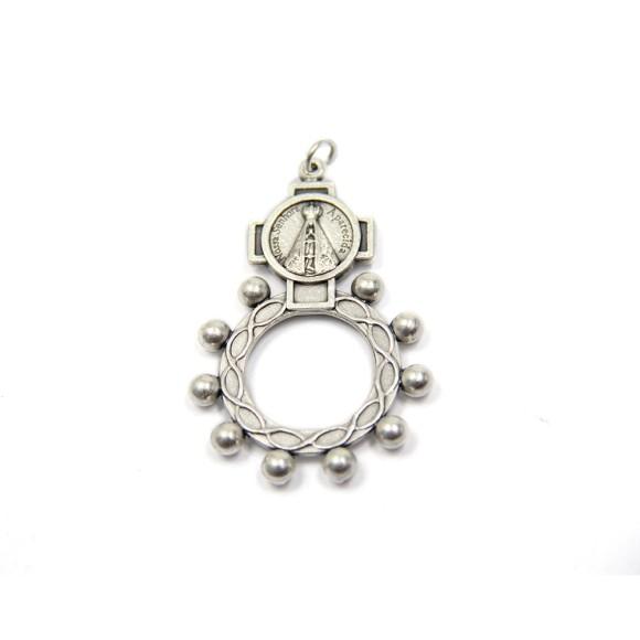 AN83250- Dezena de Dedo N. Sra. Aparecida Metal - Tamanho Único 5x3,5cm