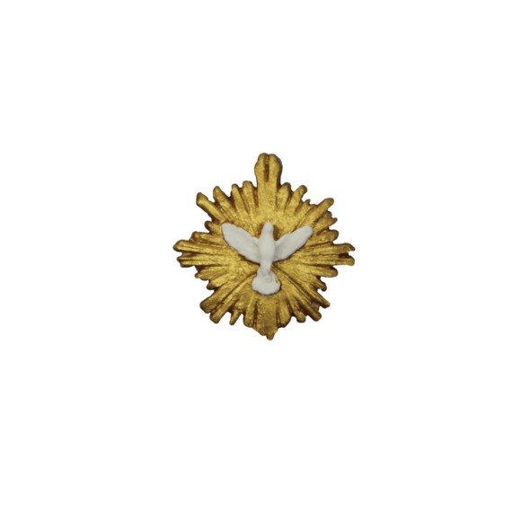 DI16107 - Divino Espírito Santo Resplendor Biscuit Dourado - 4,5x4,5cm