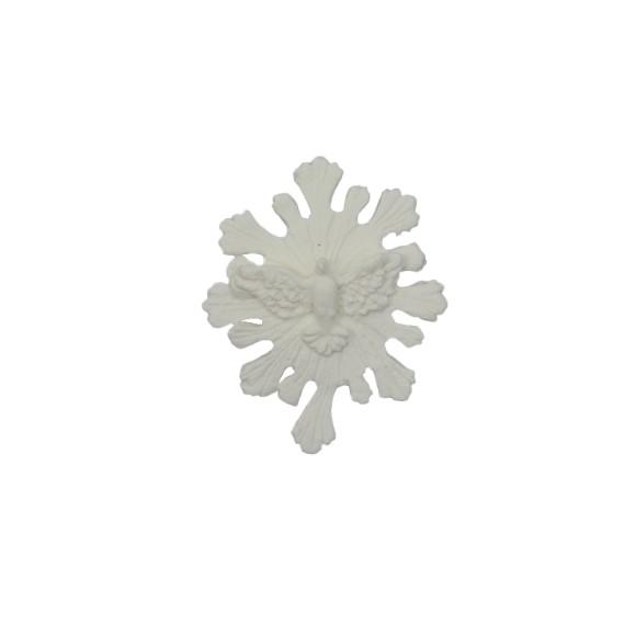 DI16120 - Divino Espírito Santo Resplendor Biscuit Branco - 8x6cm