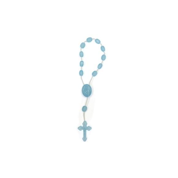 DZ05006 - Dezena de Acrílico Azul Cristal (Mini Terço) - 13,5x1cm