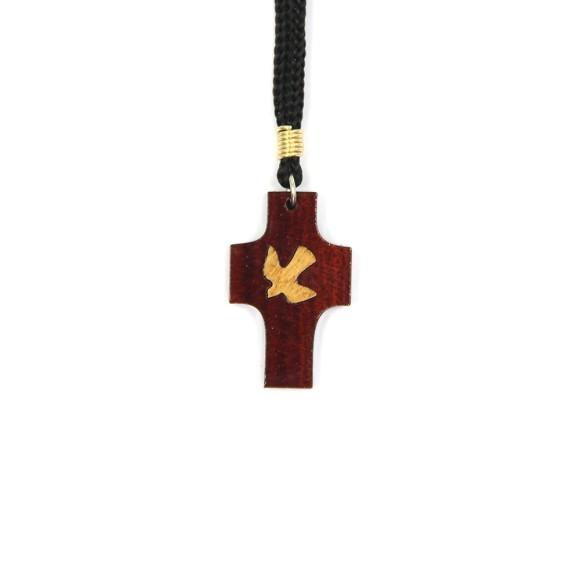 CC37008 - Cordão c/ Cruz Madeira c/ Divino - 37,5cm (CR67)