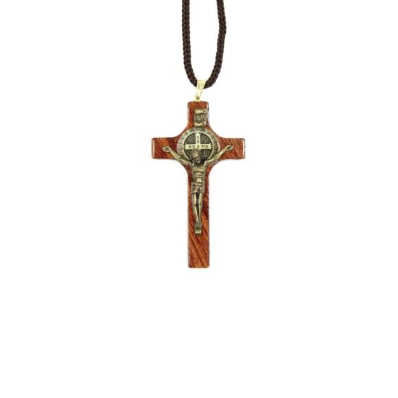 CC36008 - Cordão São Bento c/ Crucifixo Madeira - 44cm (CR73)