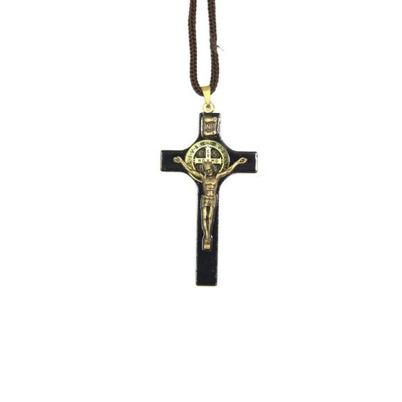 CC36009 - Cordão São Bento c/ Crucifixo Madeira - 44cm