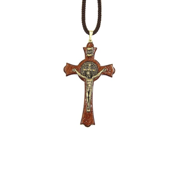 CC36011 - Cordão São Bento c/ Crucifixo Madeira - 44,5cm (CR39)