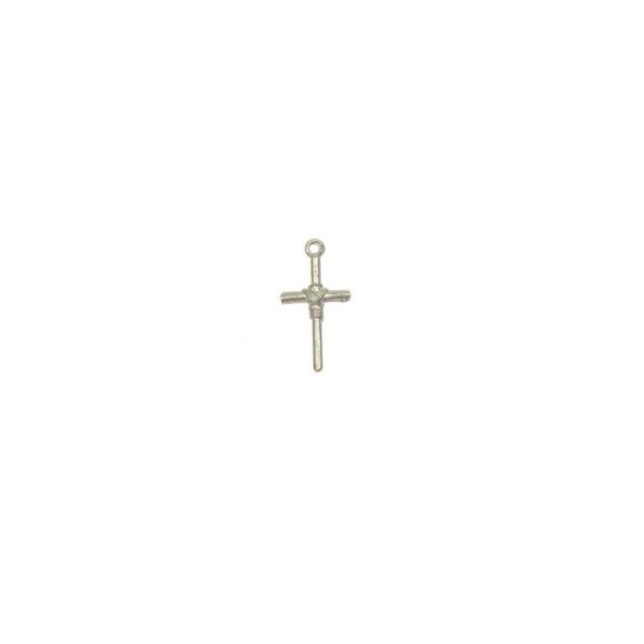 CZ89040P10 - Cruz Metal Prateada c/ 10un. - 1,5x2,8cm