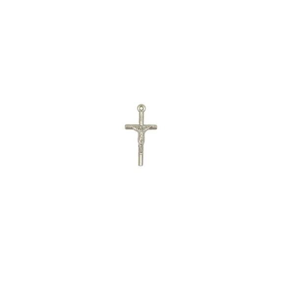 CZ89051P10 - Crucifixo Metal Prateado c/ 10un. - 2,5x0,8cm
