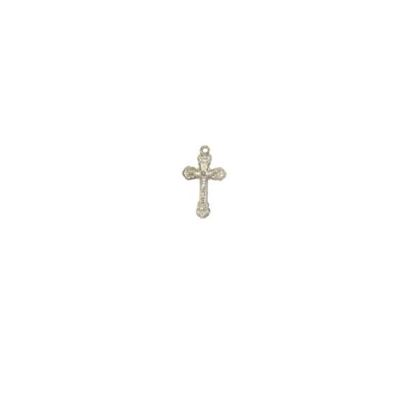 CZ89080P10 - Crucifixo Metal Prateado c/ 10un. - 2,5x1,5cm