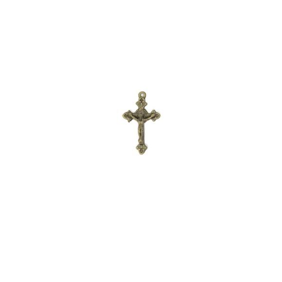 CZ89102P10 - Crucifixo Metal Ouro Velho c/ 10un. - 3x1,8cm