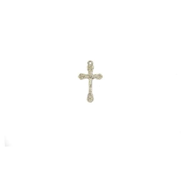CZ89110P10 - Crucifixo Metal Prateado c/ 10un. - 3,3x2cm