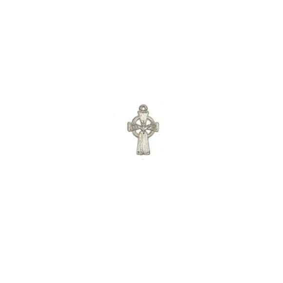 CZ89130P10 - Cruz Metal Divino Espírito Santo Prateada c/ 10un. - 1,5x2cm