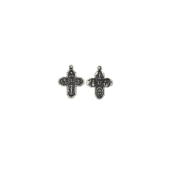 CZ89150P4 - Cruz Metal Diversos Santos (Família) Níquel Envelhecido c/ 4un. - 2,5x2cm