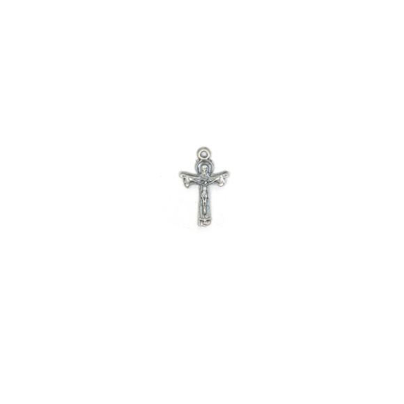 CZ89181P10 - Cruz Metal Santissima Trindade Níquel Envelhecido c/ 10un. - 1,8x2,8cm
