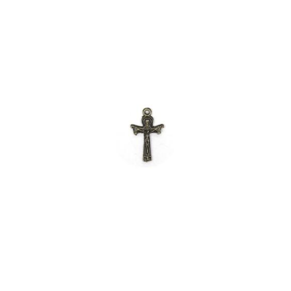 CZ89182P10 - Cruz Metal Santissima Trindade Ouro Velho c/ 10un. - 1,8x2,8cm
