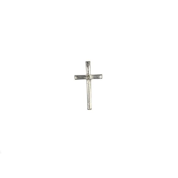 CZ86001 - Crucifixo Metal Prateado - 4x2,2cm