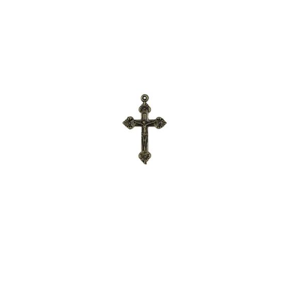 CZ86012P10 - Crucifixo Metal Ouro Velho c/ 10un. - 3,5x2,2cm
