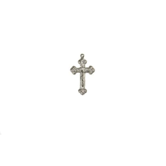CZ86040P5 - Crucifixo Metal Níquel c/ 5un. - 4x2,3cm