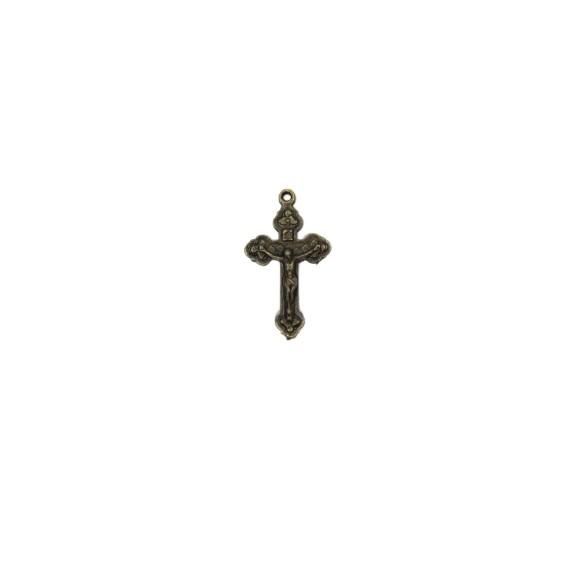 CZ86071P5 - Crucifixo Metal Ouro Velho c/ 5un. - 3,2x2,2cm
