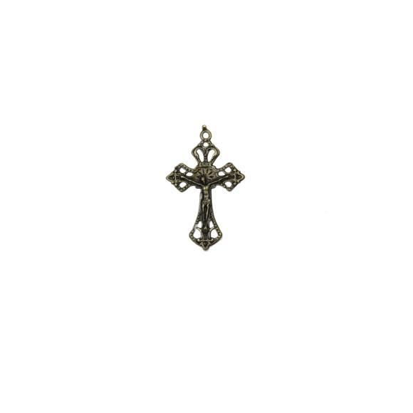 CZ86083P3 - Crucifixo Metal Ouro Velho c/ 3un. - 4,3x2,8cm