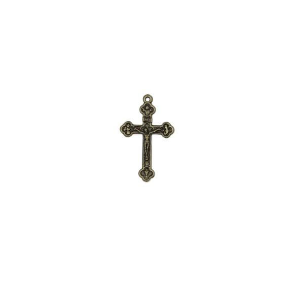 CZ86102P2 - Crucifixo Metal Ouro Velho c/ 2un. - 4,5x2,6cm