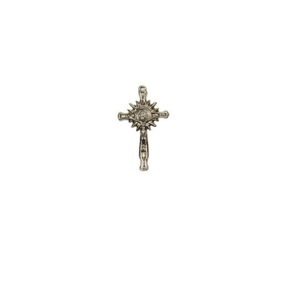 CZ86110P3 - Crucifixo Metal N. Sr. Do Bonfim Prateado c/ 3un. - 4,5x2,5cm